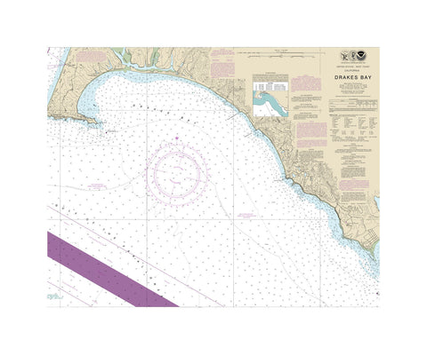 Drake's Bay California Nautical Chart Vinyl Print