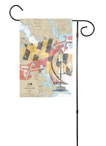 Annapolis Harbor With Sailboat Garden Flag