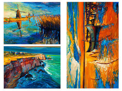 3 Nautical Oil Paintings Sailcloth Print