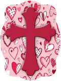 Cross On Hearts Background Door Hanger