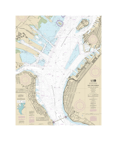 New York Harbor - Upper Narrows Nautical Chart Vinyl Print