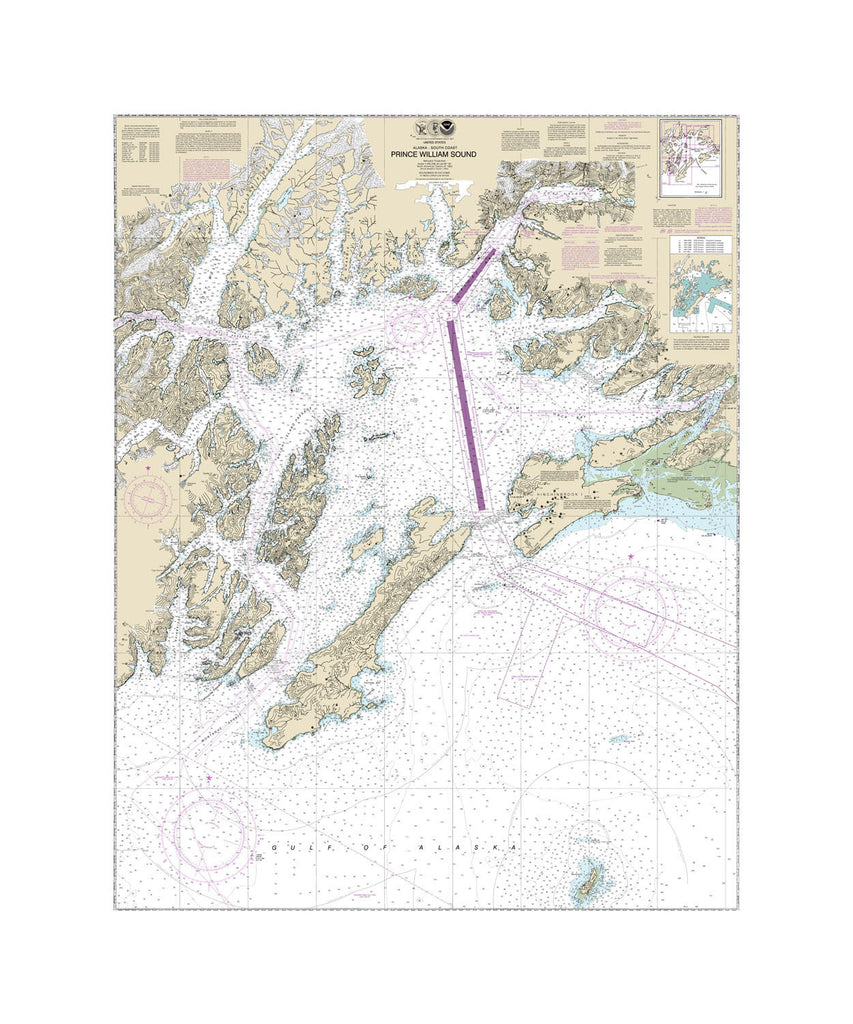 Prince William Sound, Alaska Nautical Chart Sailcloth Print