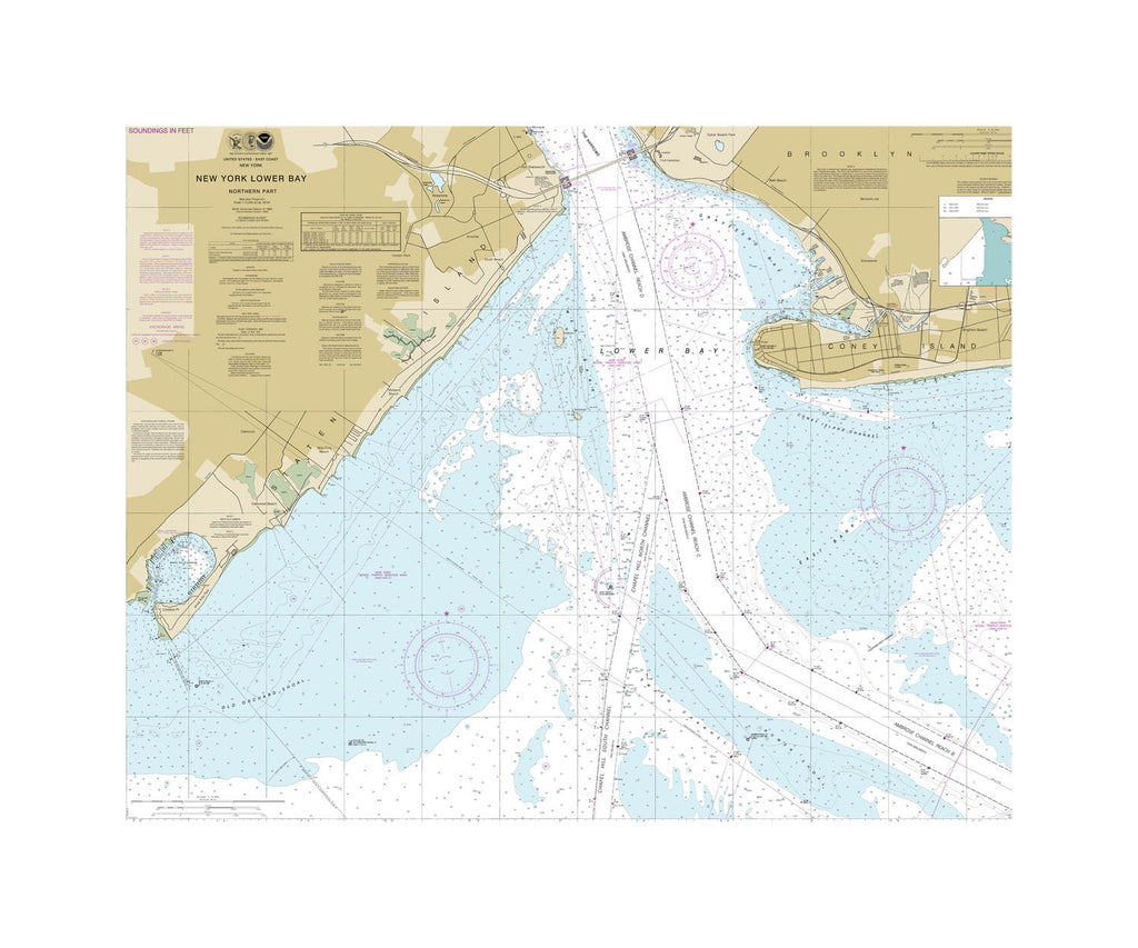 New York Lower Bay North Nautical Chart Sailcloth Print