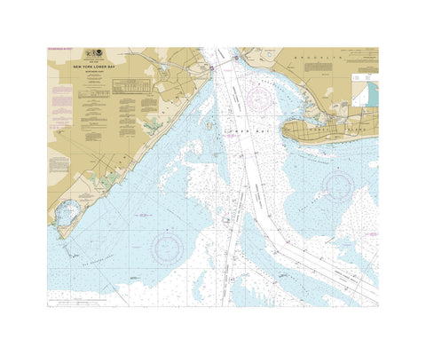 New York Lower Bay North Nautical Chart Vinyl Print