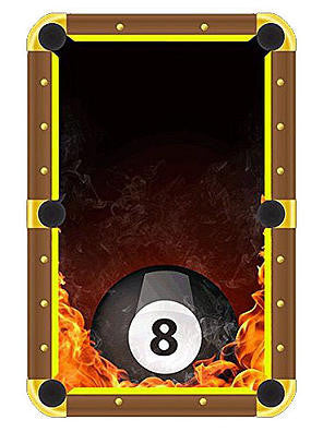 8 Ball On Fire Billiards Cloth