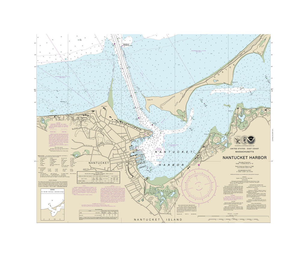 Nantucket Nautical Chart Sailcloth Print