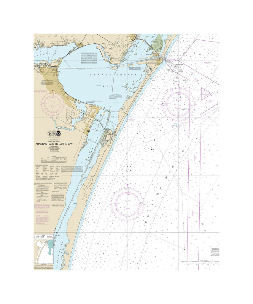 Aransas Pass to Baffin Bay Nautical Chart Vinyl Print