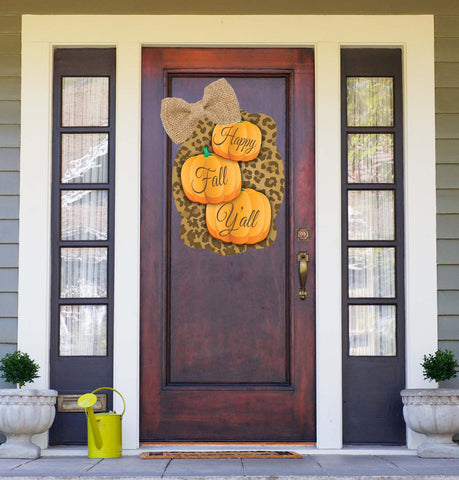 Happy Fall Y'all Pumpkins - Leopard Snowman Door Hanger