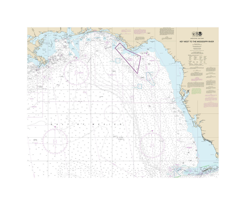 Key West To Mississippi River Nautical Chart Vinyl Print