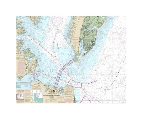 Chesapeake Bay Entrance Nautical Chart Vinyl Print