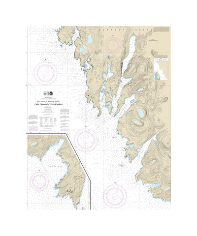 Alaska Cape Ommeney Nautical Chart Sailcloth Print