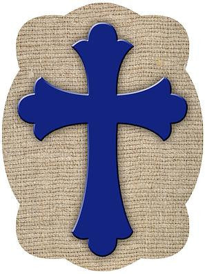 Cross On Burlap Background Door Hanger