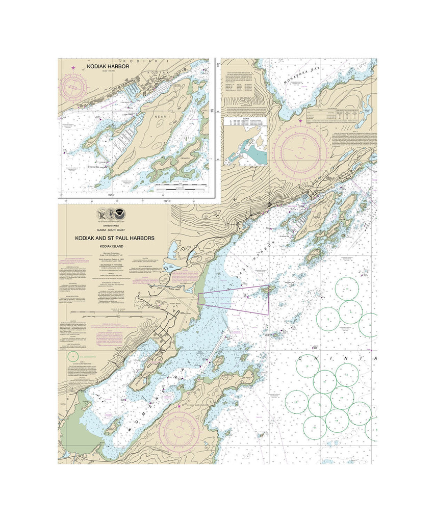 Kodiak & St. Paul Harbors Alaska Nautical Chart Vinyl Print