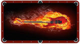 Flaming Guitar Billiards Cloth