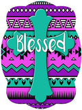 Cross On Purple Aztec Background Door Hanger