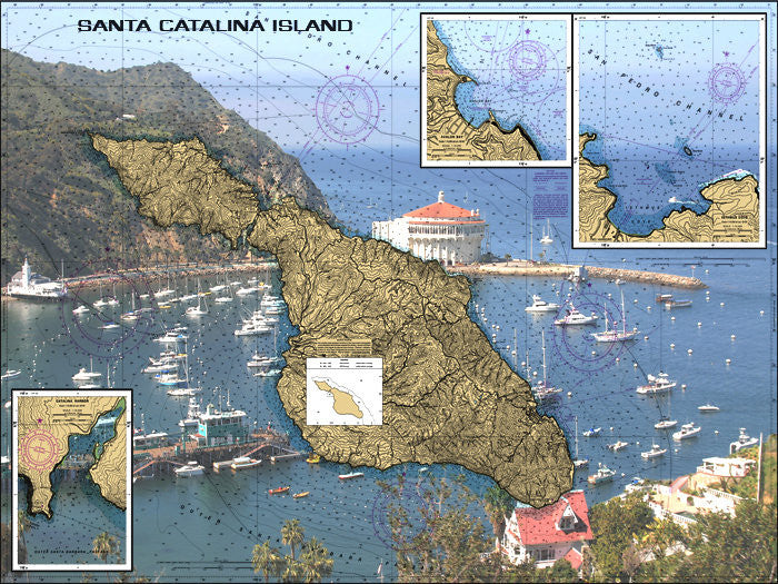 Avalon Bay At Santa Catlina Island Nautical Chart Sailcloth Print