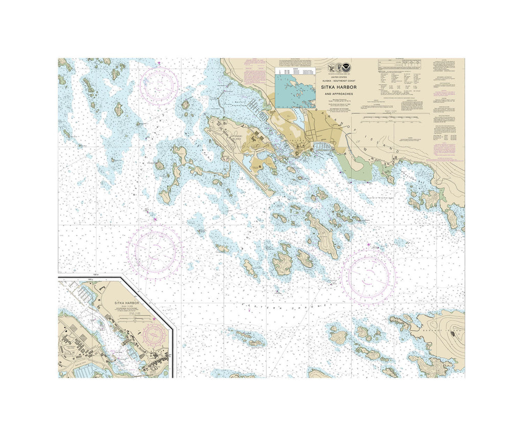 Sitka Harbor And Approaches Nautical Chart Sailcloth Print