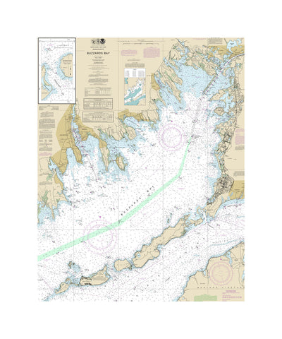 Buzzards Bay Cape Cod Nautical Chart Vinyl Print
