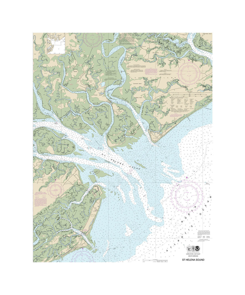 St. Helena Sound Nautical Chart Sailcloth Print