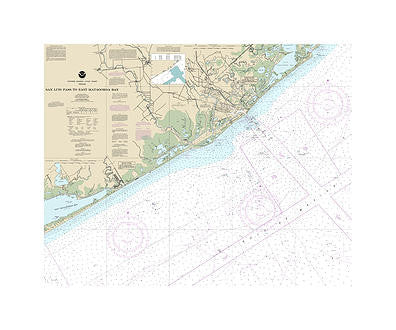 San Luis Pass to Matagorada Bay Nautical Chart Sailcloth Print
