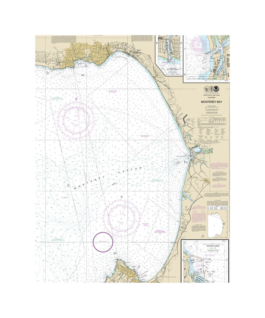 Monterey Bay Nautical Chart Vinyl Print