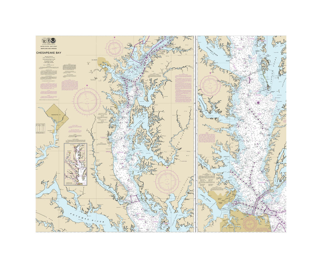 Chesapeake Bay Nautical Chart Sailcloth Print