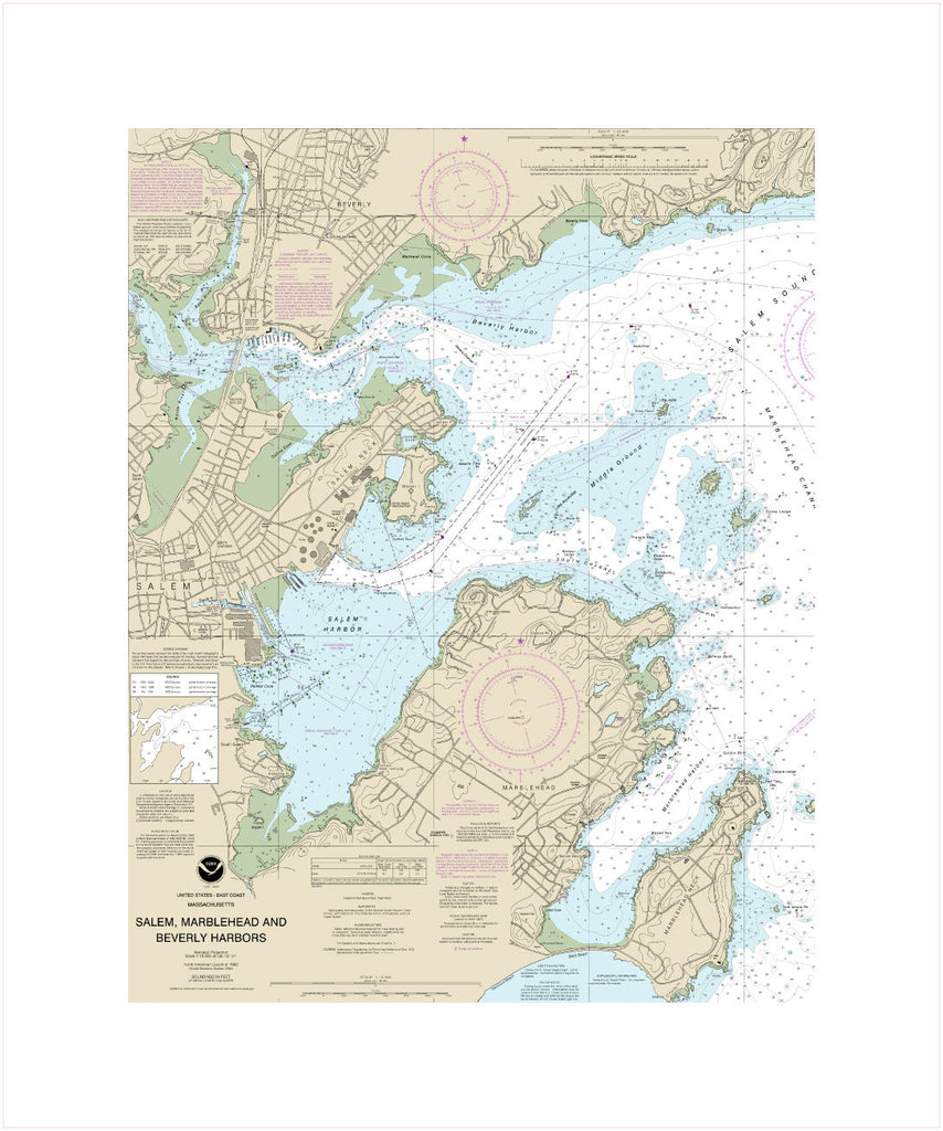 Salem, Marblehead and Beverly Harbors, Massachusetts Nautical Chart Sailcloth Print