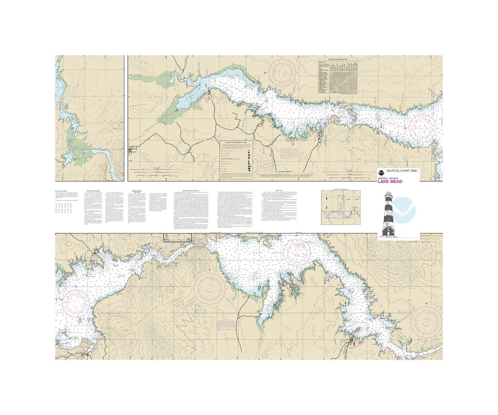 Lake Mead Nautical Chart Vinyl Print