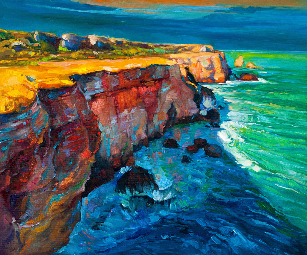Ocean Cliffs Oil Painting Sailcloth Print