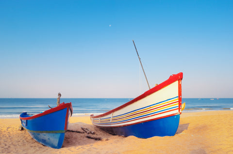 Colorful Boats On Shore Vinyl Print