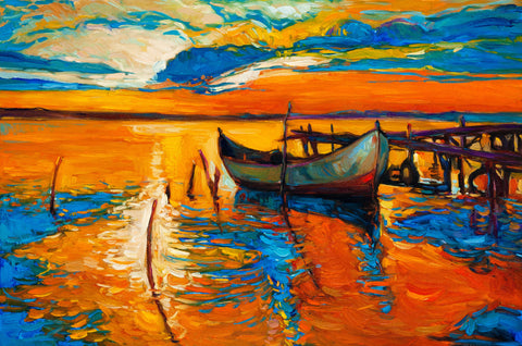 Boats On Pier Oil Painting Vinyl Print