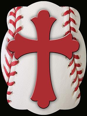 Cross On Baseball Background Door Hanger