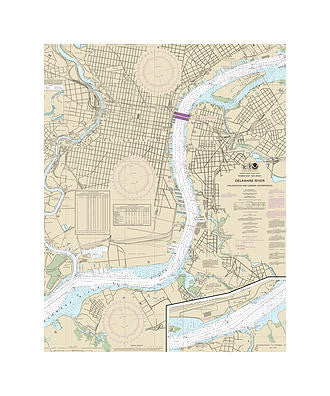 Philadelphia & Camden Waterfront Delaware River Nautical Chart Sailcloth Print