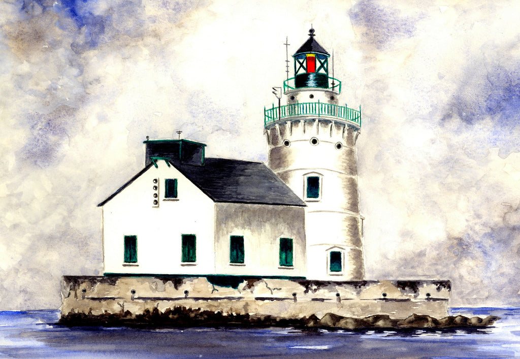 Lighthouse On Lake Erie Sailcloth Print
