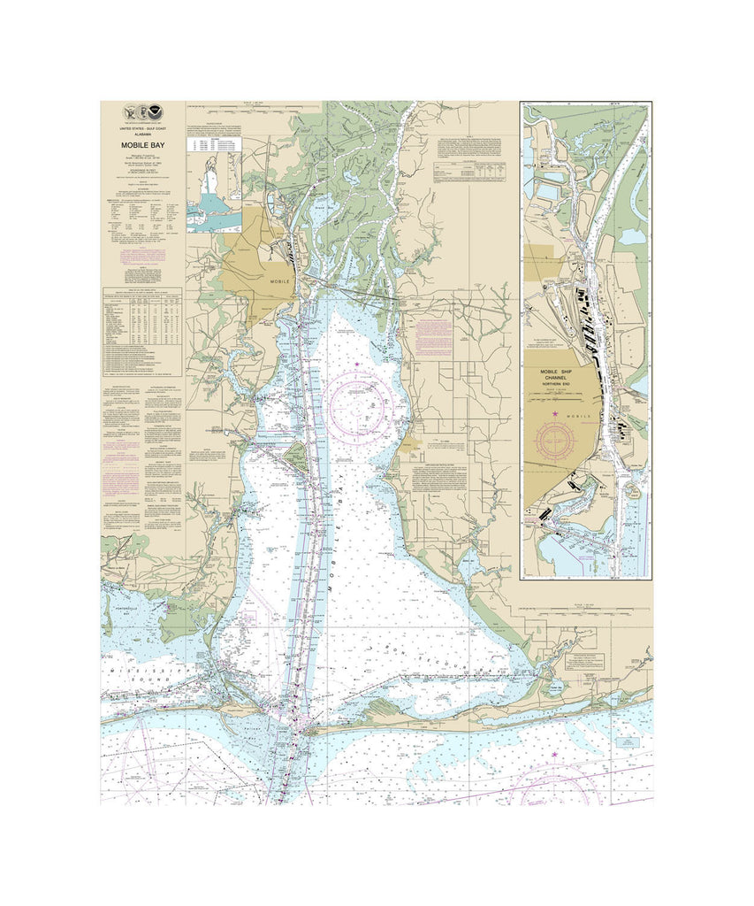 Mobile Bay - Mobile Ship Chanel Northern End Nautical Chart Vinyl Print
