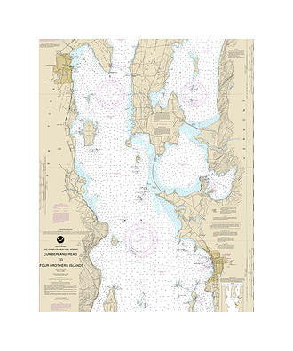 Cumberland Head to 4 Brothers Island Nautical Chart Vinyl Print