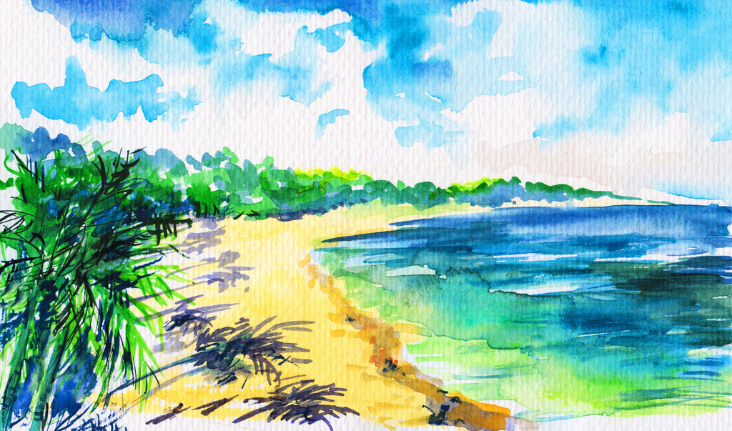 Tropical Beach Painting With Canvas Texture Look Sailcloth Print