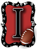 Red & Black Paw Print Football Door Hanger
