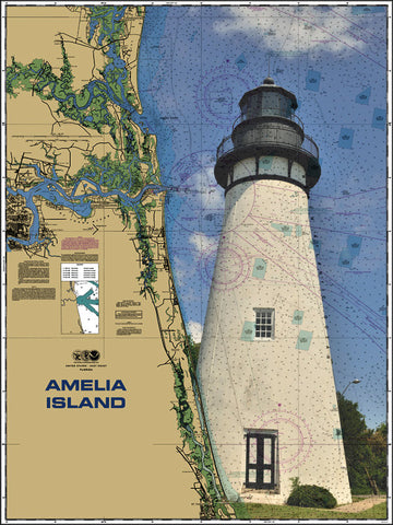 Amelia Island Lighthouse Nautical Chart Sailcloth Print