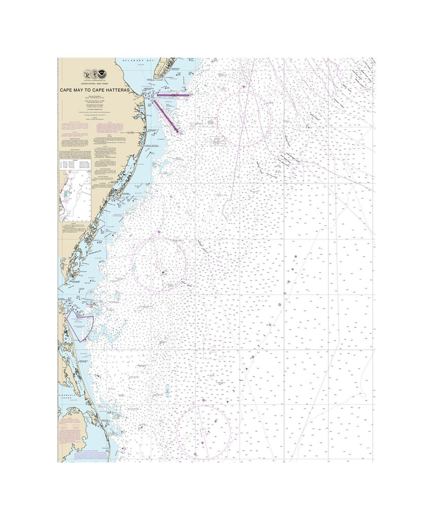 Cape May To Cape Hatteras Nautical Chart Vinyl Print