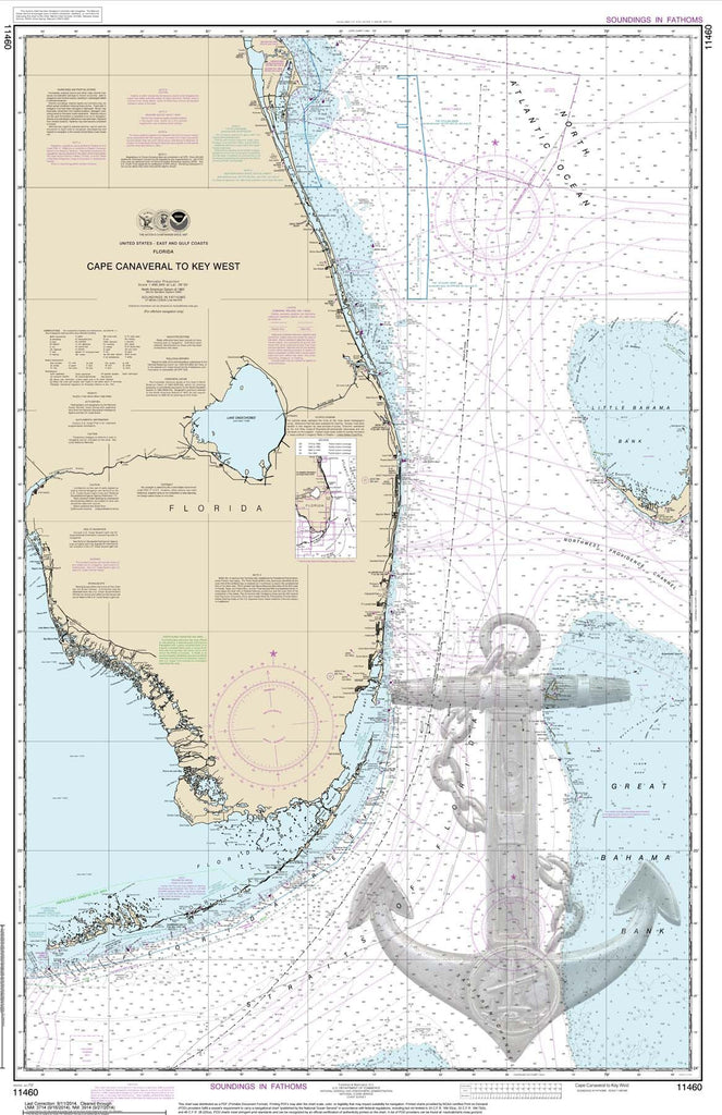 Cape Canaveral With Design Nautical Chart Sailcloth Print