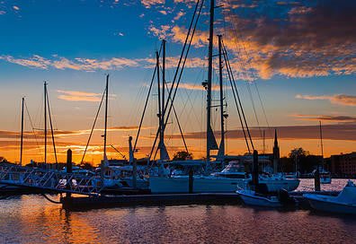 Sunset Marina Sailcloth Print
