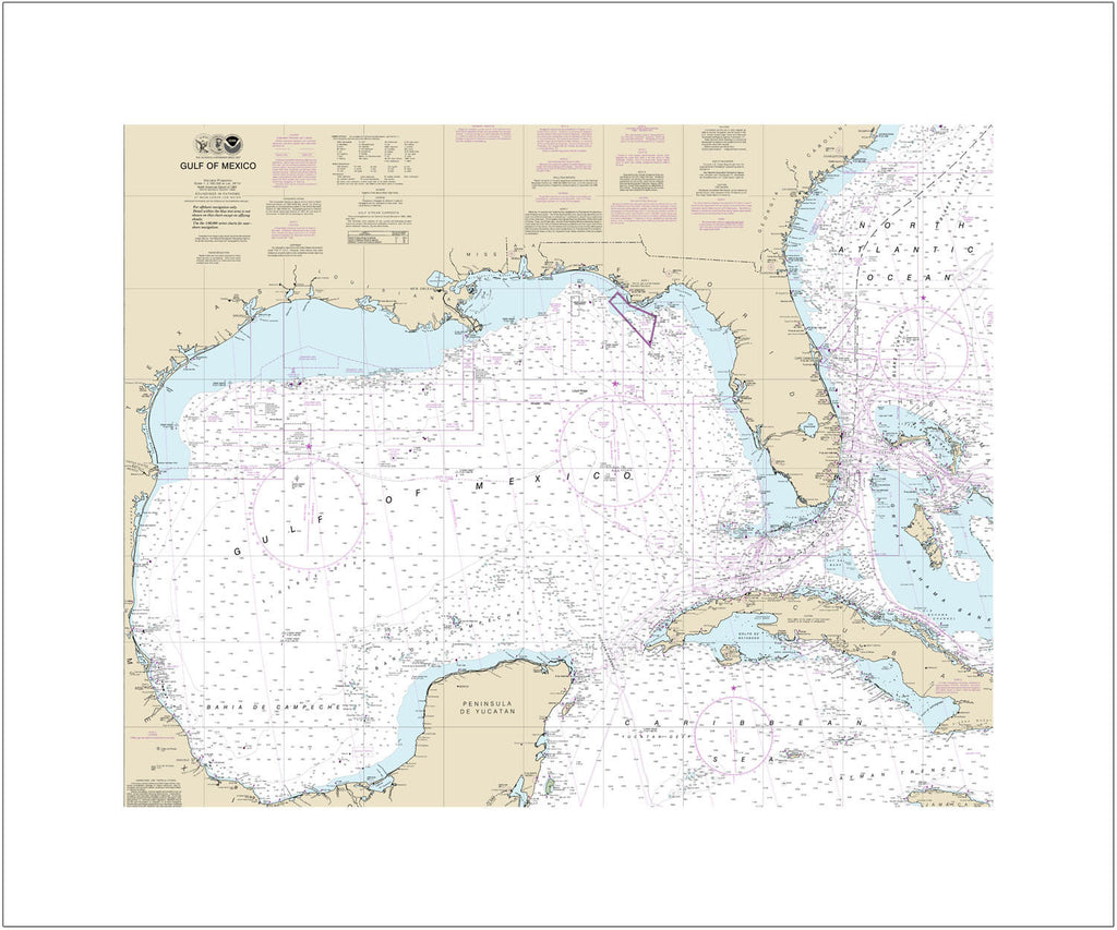 Gulf Of Mexico Nautical Chart Sailcloth Print
