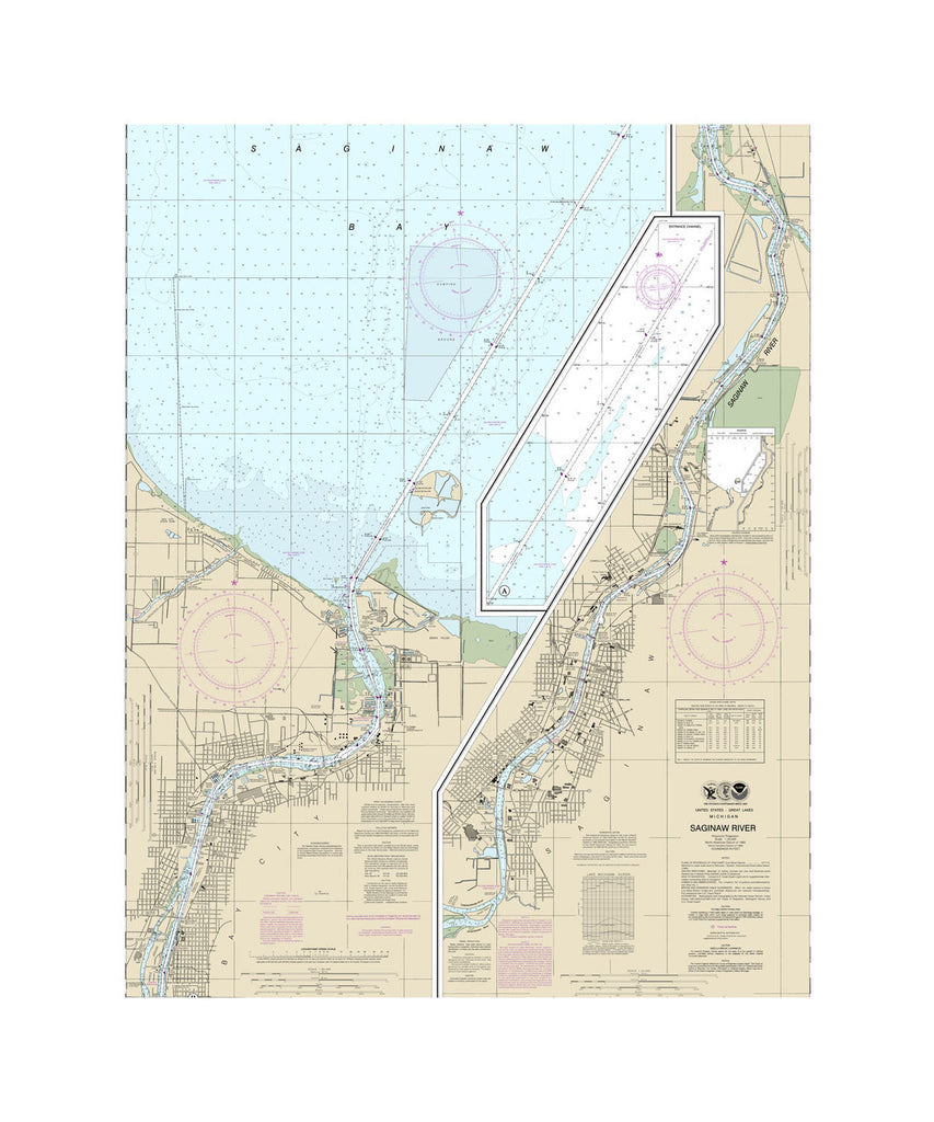 Saginaw River Nautical Chart Sailcloth Print