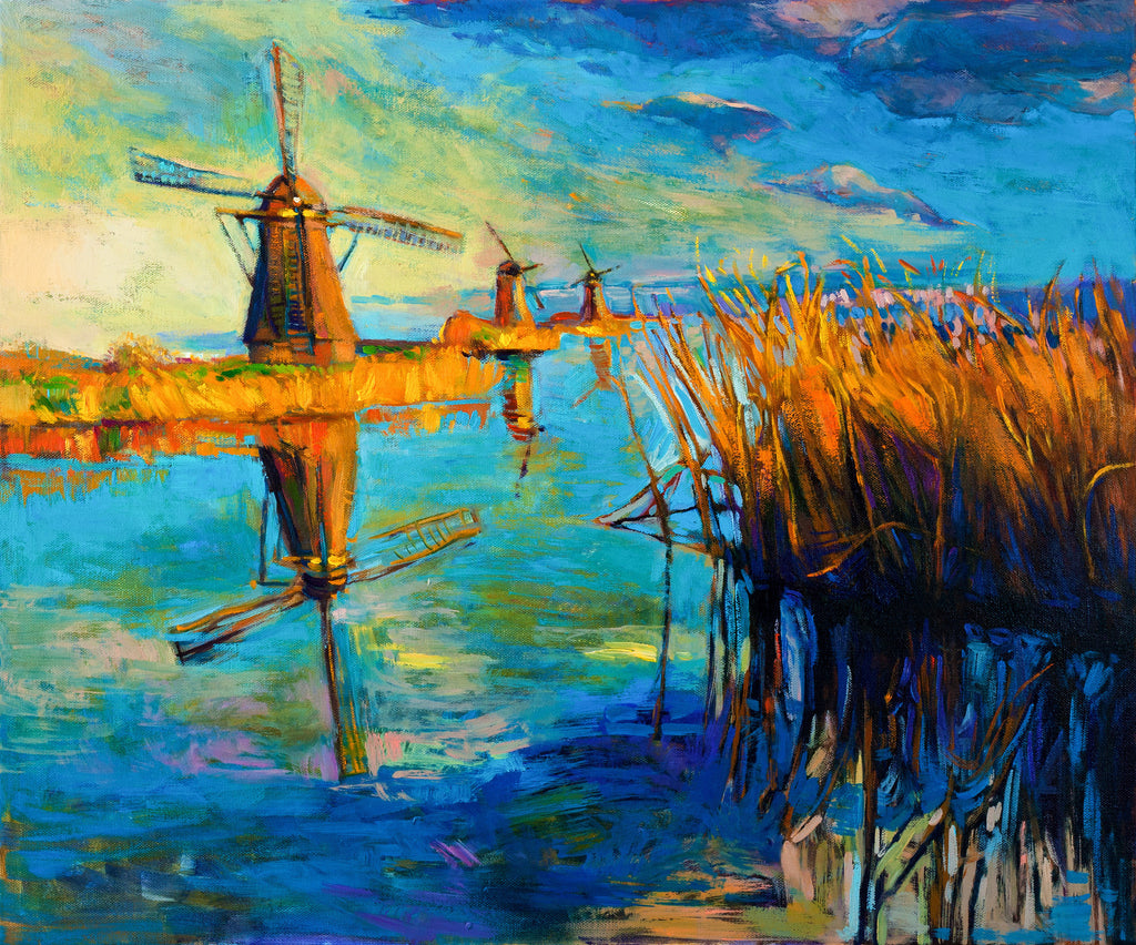 Windmill By The Ocean Oil Painting Sailcloth Print