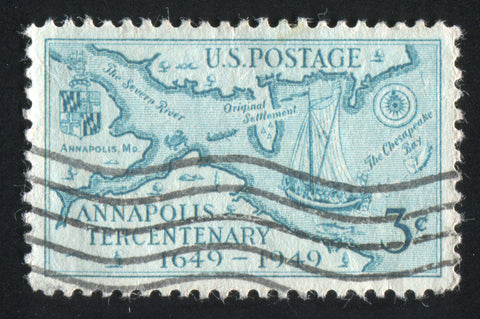 Annapolis Harbor, Chesapeake Bay Vintage Stamp Sailcloth Print