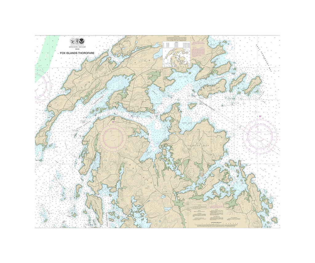 Fox Islands Thorofare Nautical Chart Sailcloth Print
