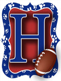 Red & Blue Paw Print Football Door Hanger
