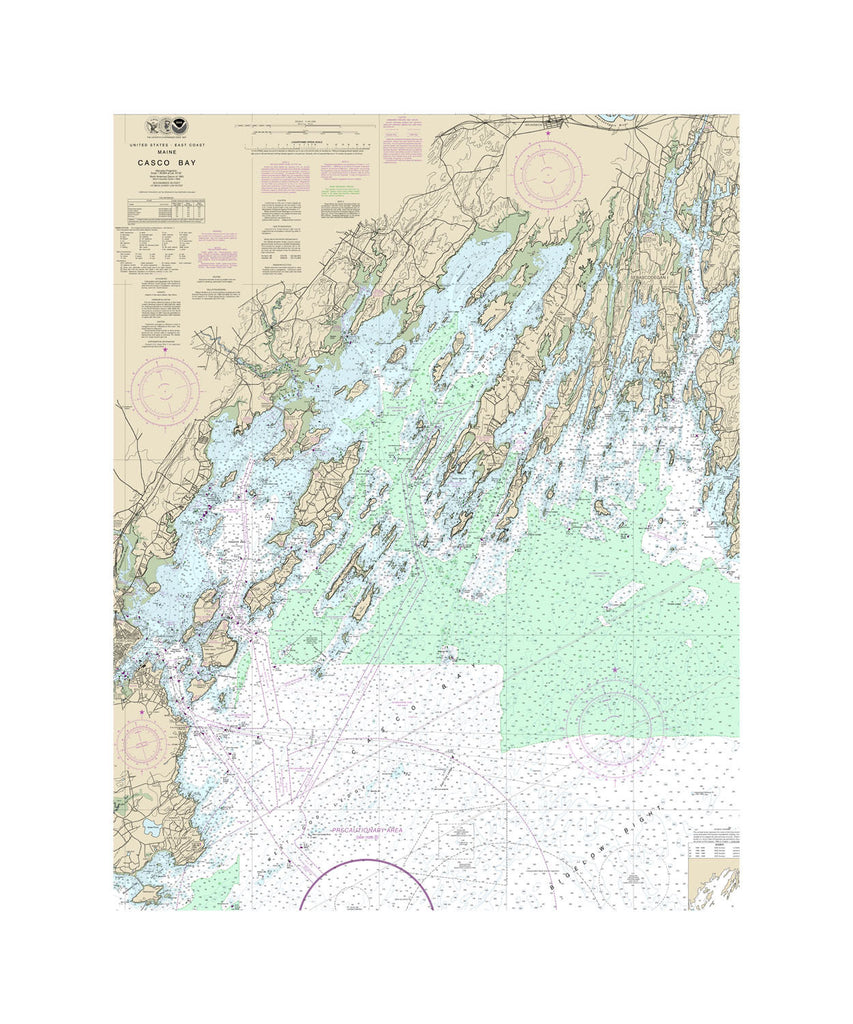 Casco Bay, Maine Nautical Chart Vinyl Print