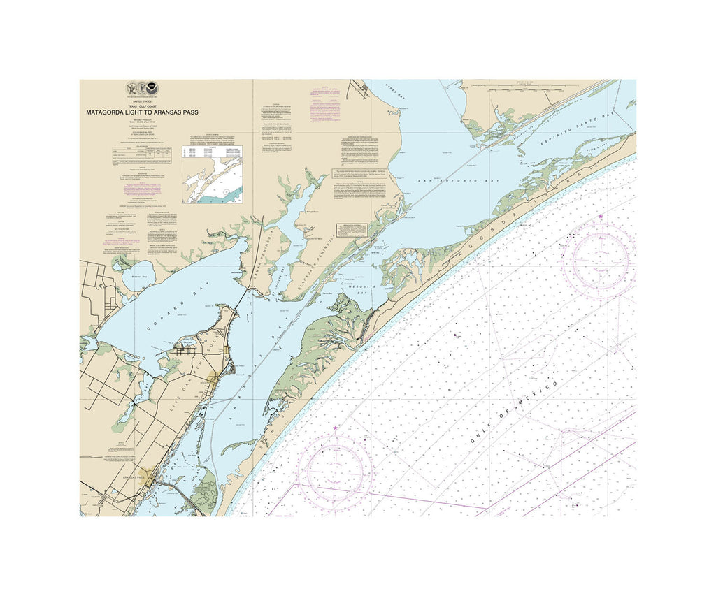 Matagorda Light To Aransas Pass Nautical Chart Sailcloth Print